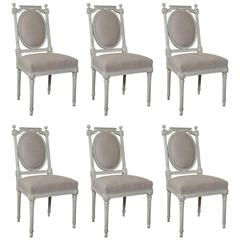 Set of Six Antique White Painted Louis XVI / Neoclassical Style Dining Chairs