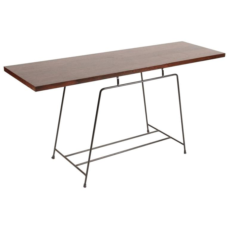 French Modern Rosewood and Iron Console