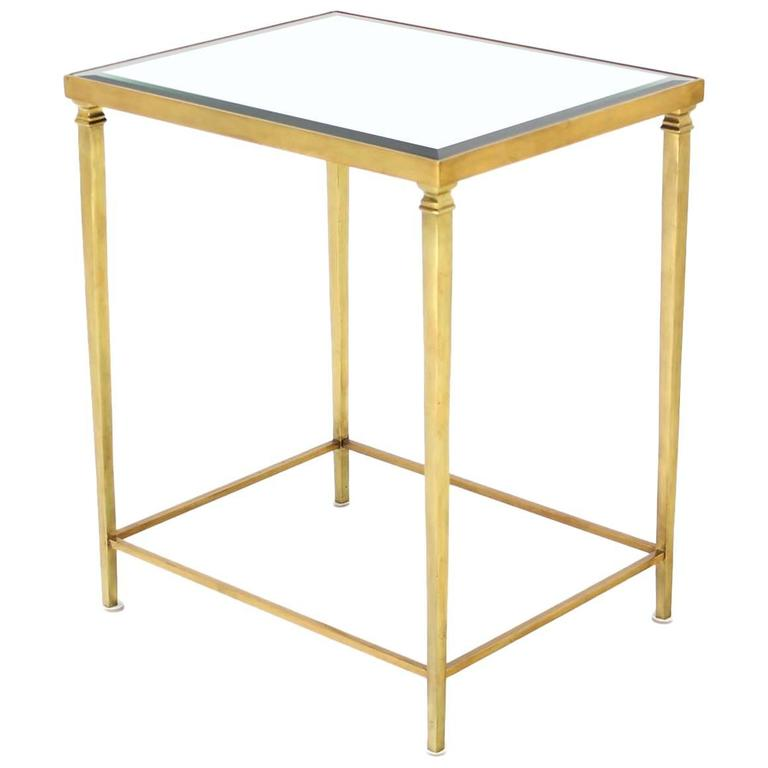 Solid Brass Tapered Leg Beveled Glass Mirror Top Side End Table For