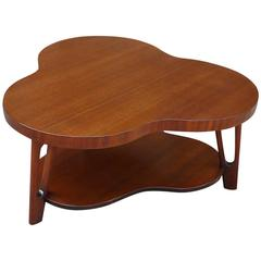 Mid-Century Mahogany Clover Shape Coffee Table Attributed To Glibert Rohde