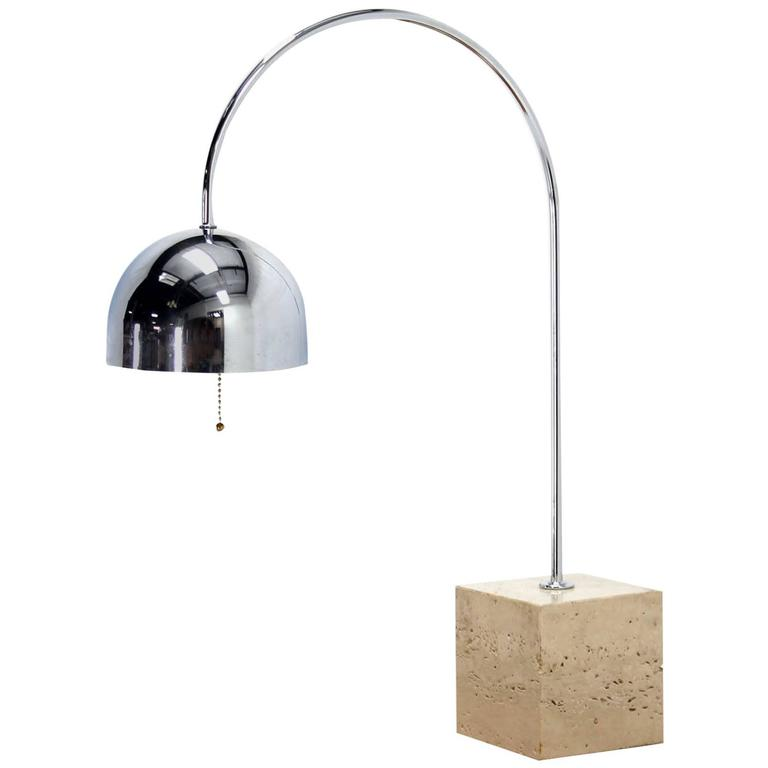 Marble Cube Base Chrome Table Lamp Arco For Sale At 1stdibs