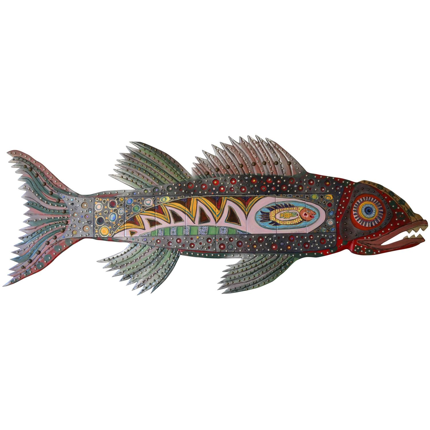 Enormous colorful decorative folk art fish wall decoration at 1stdibs amipublicfo Image collections