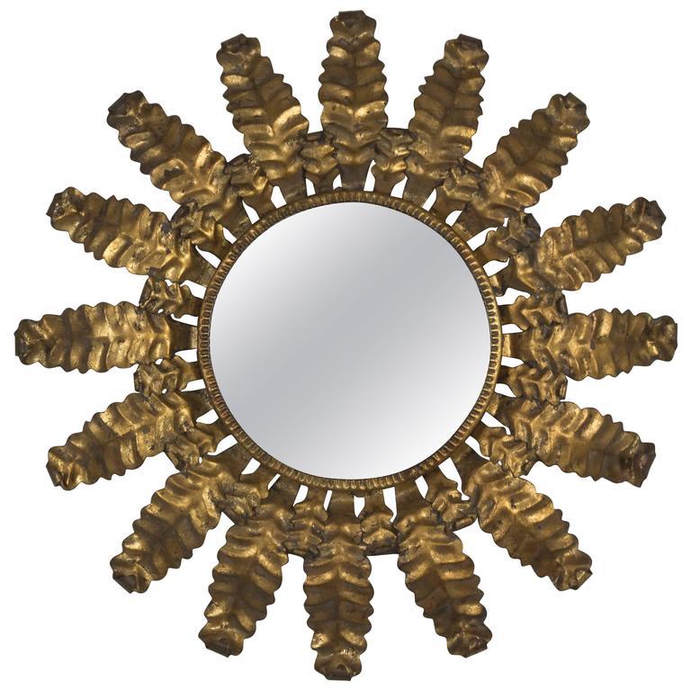 Unusual Round Gilt Metal Sunburst Mirror