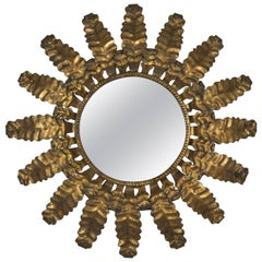 Unusual Round Gilt Metal Sunburst Mirror