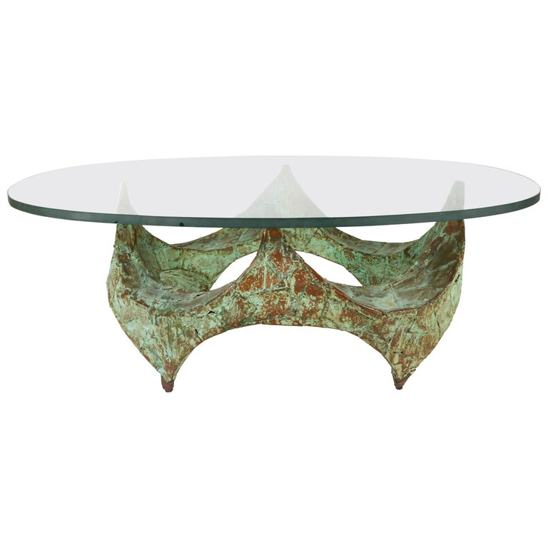 Paul Evans Hand-Hammered and Patinated Copper Studio Coffee Table, USA, 1960s For Sale