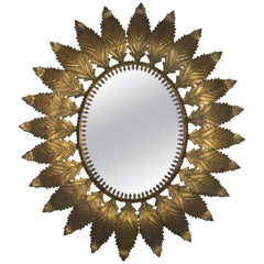 Oval Spanish Gilt Metal Sunburst Mirror