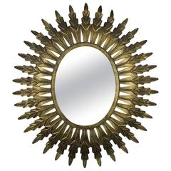 Gilt Metal Oval Sunburst Mirror