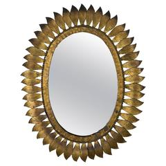 Spanish Oval Gilt Sunburst Mirror