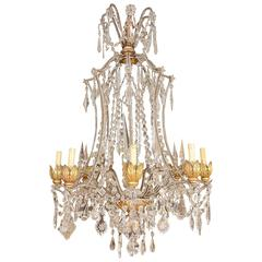 Italian Crystal and Wood Chandelier