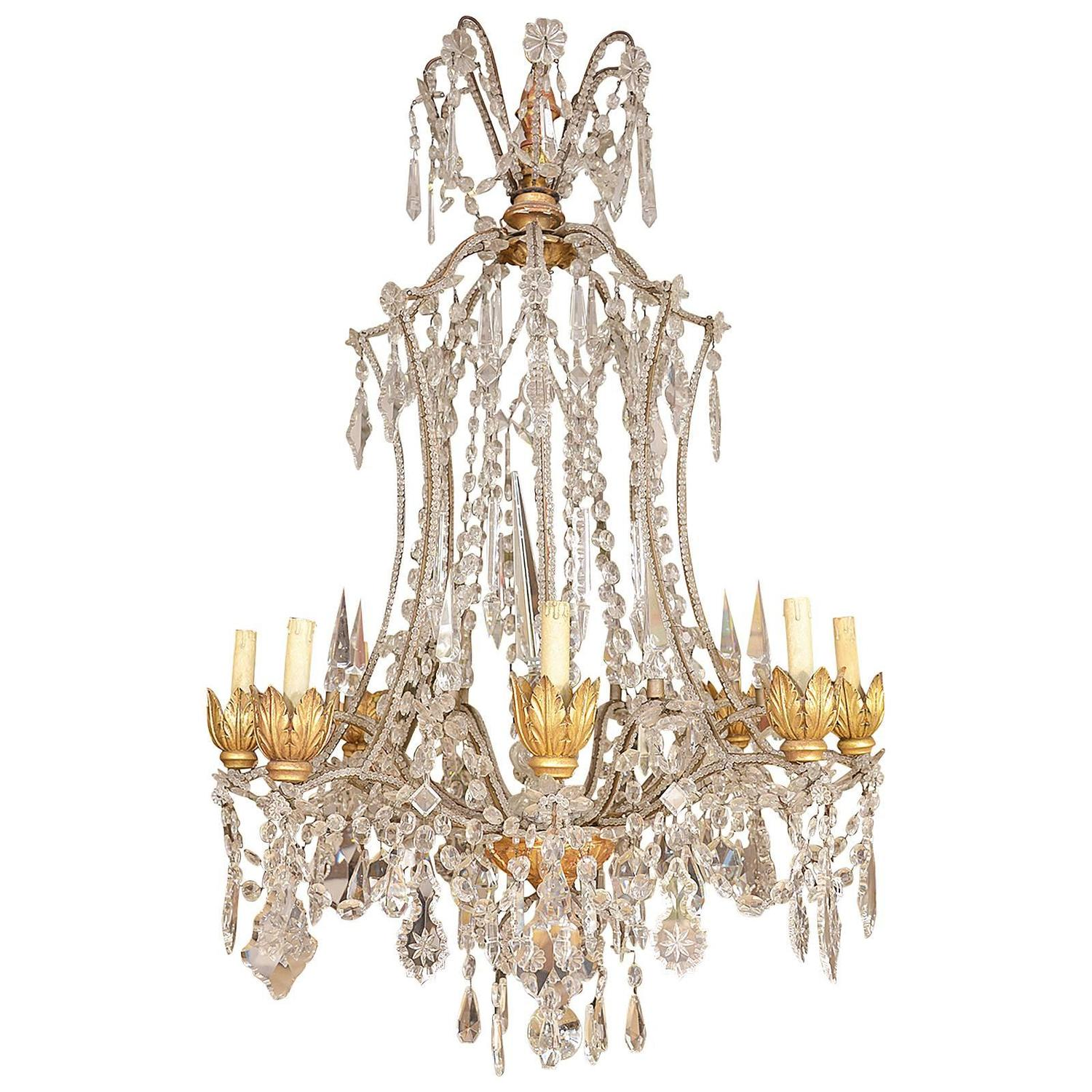 Italian crystal and wood chandelier for sale at 1stdibs for Wood pendant chandelier