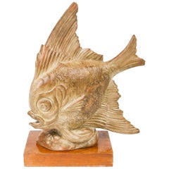 Terracotta Art Deco Figurine of a Fish by R. Rodes