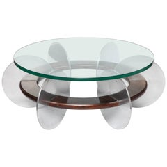 Mid-Century Modern Coffee Table 1970s Polished Aluminium and Wood Glass Top