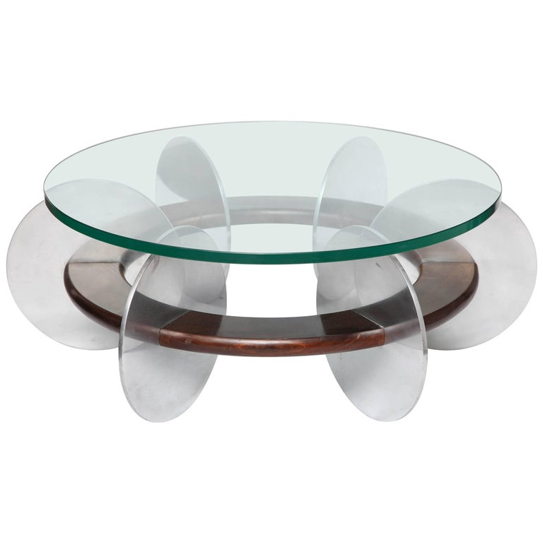 Mid-Century Modern Coffee Table 1970s Polished Aluminium and Wood Glass Top For Sale