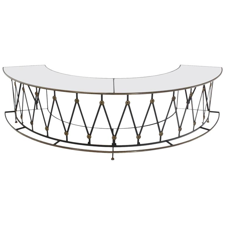 Gorgeous Wrought Iron Brass Milk Glass Half Round Bar Serving Table 1