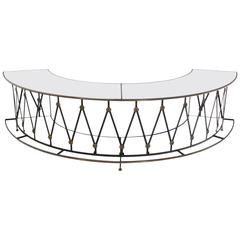 Gorgeous Wrought Iron Brass Milk Glass Half Round Bar Serving Table
