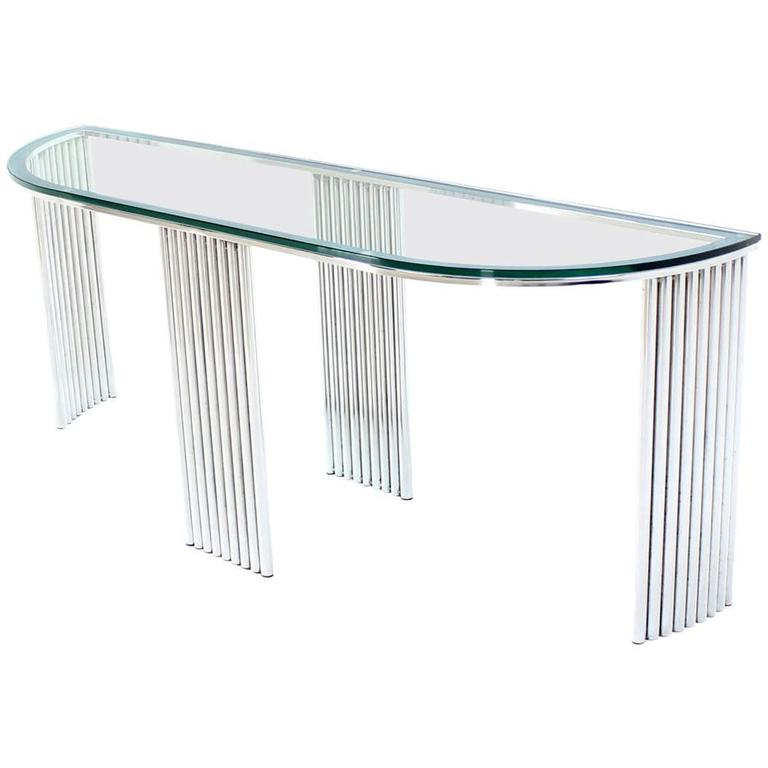 Wide Demilune Crome Rounded Corners Console Table