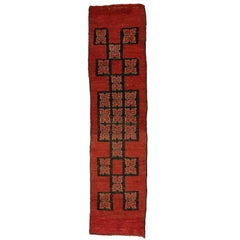 Vintage Berber Moroccan Runner with Mid-Century Modern Style