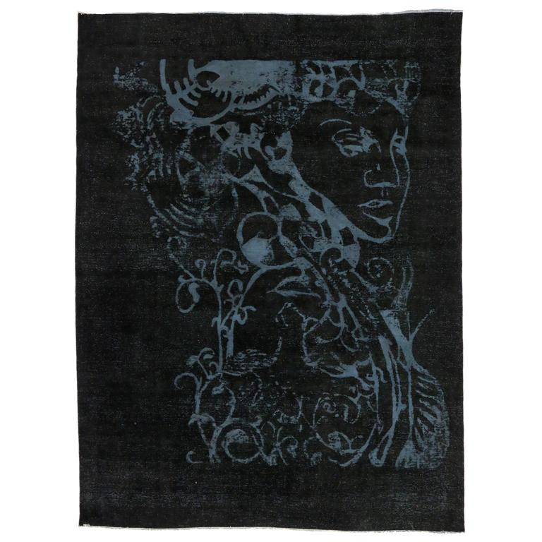 Vintage Overdyed Black Area Rug With Silhouette Optical Illusion For
