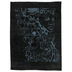 Vintage Overdyed Black Area Rug with Silhouette Optical Illusion
