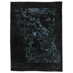 Vintage Black Rug with Optical Illusion and Unconventional Design