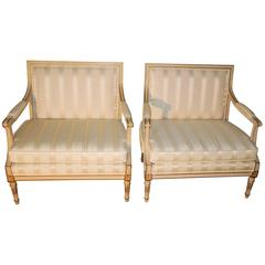 Pair of Louis XVI Style Marquise Armchairs