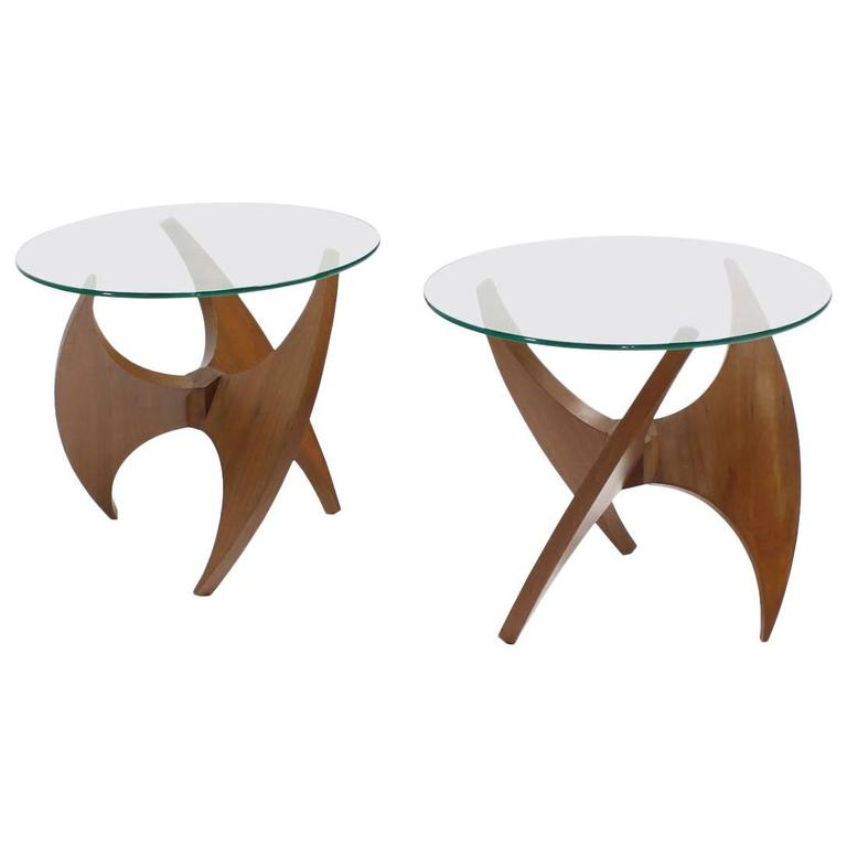 Walnut Propeller Base Glass Top Round End Side Tables  For Sale