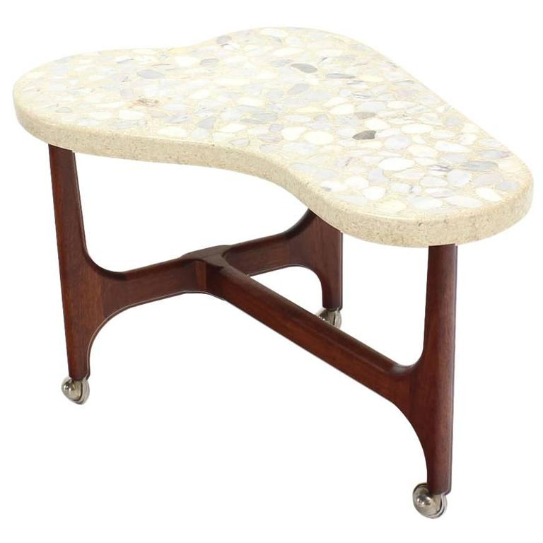 Organic Shape Solid Oiled Walnut Base Travertine Top End Side Table