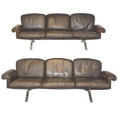 Pair of Vintage de Sede DS 31 Three-Seat Sofas, 1970s