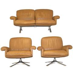Vintage De Sede DS 31 Two-Seat Sofa and Club Lounge Armchairs