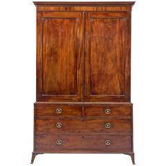 Hepplewhite Period Mahogany Linen Press, Stamped Gillow