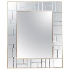 Contemporary 1980s French Oversized Mirror with Gilt and Mosaic Mirror Frame