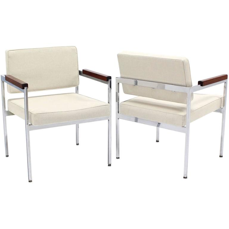 Pair of Chrome Bases Solid Oiled Walnut Arms Armchairs with New Upholstery