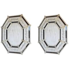 Pair of Octagonal Venetian Mirrors, Inset with Black Glass Relief