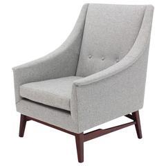 Newly Upholstered Danish Modern Lounge Chair Walnut Base