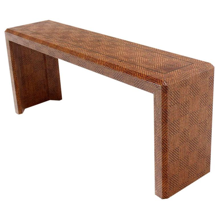 Grass Cloth Covered Console Table with Solid Brass Inlay