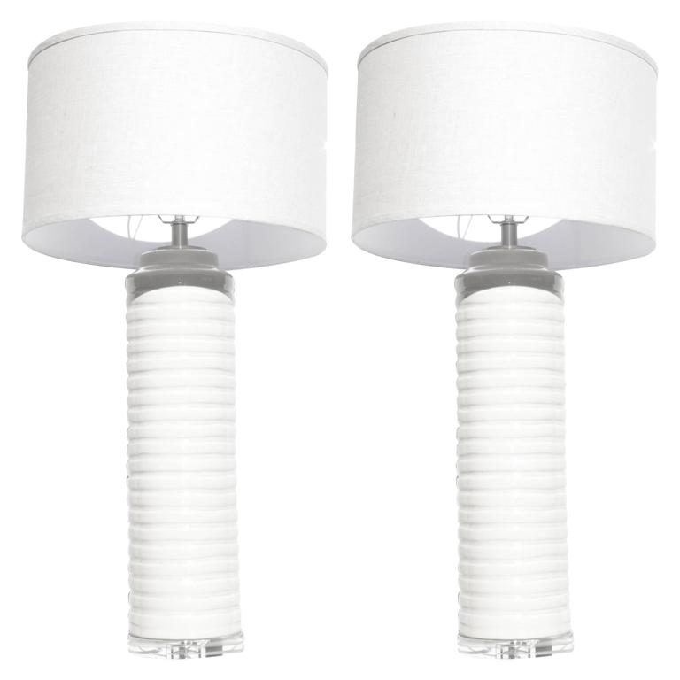 Contemporary Pair of Cream White Glazed Ceramic Stacked Columnar Lamps Lucite