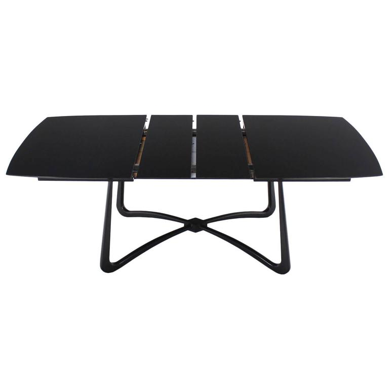 Black Lacquer Mid-Century Modern X-Base Dining Table with Two Leaves