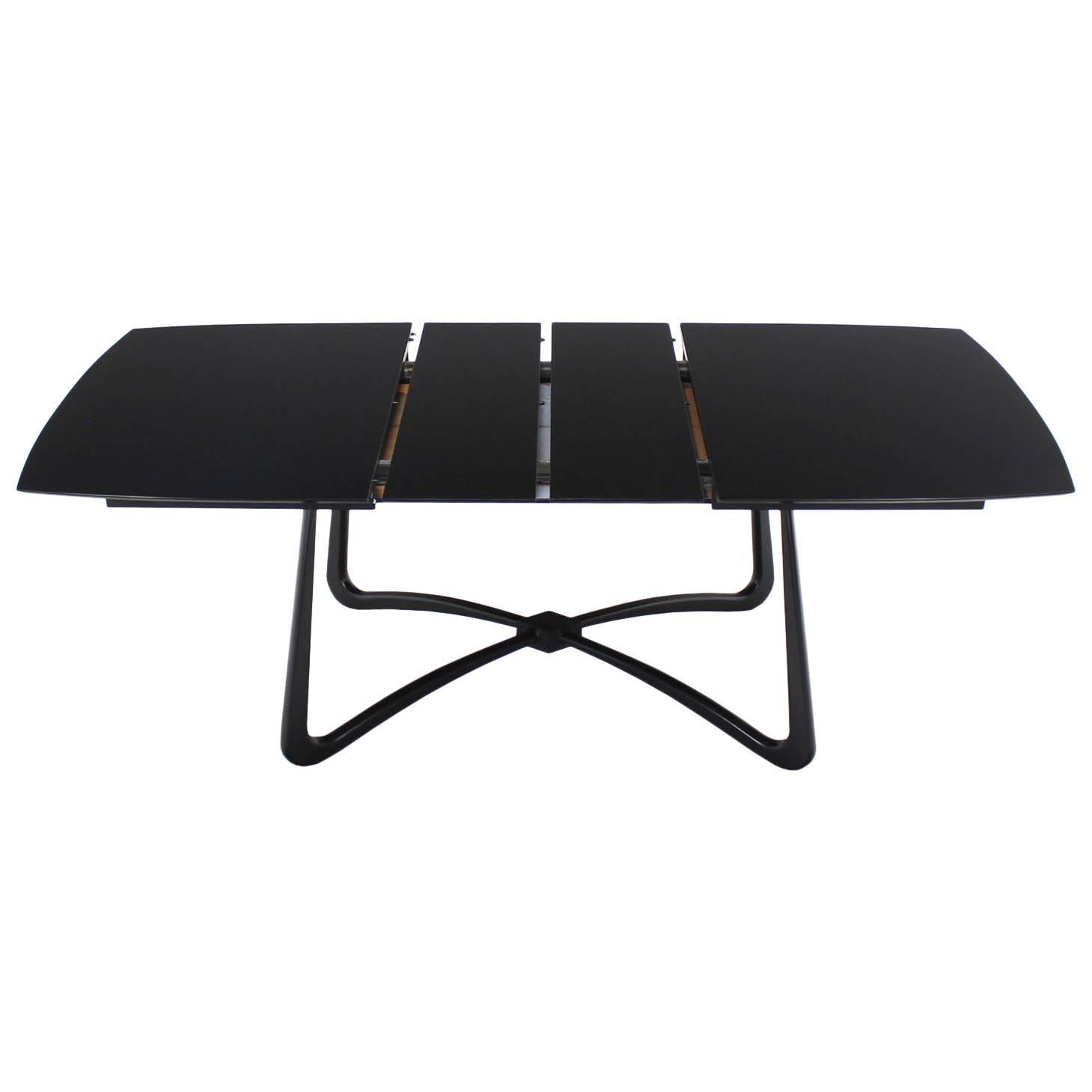 black lacquer mid century modern x base dining table with two leaves
