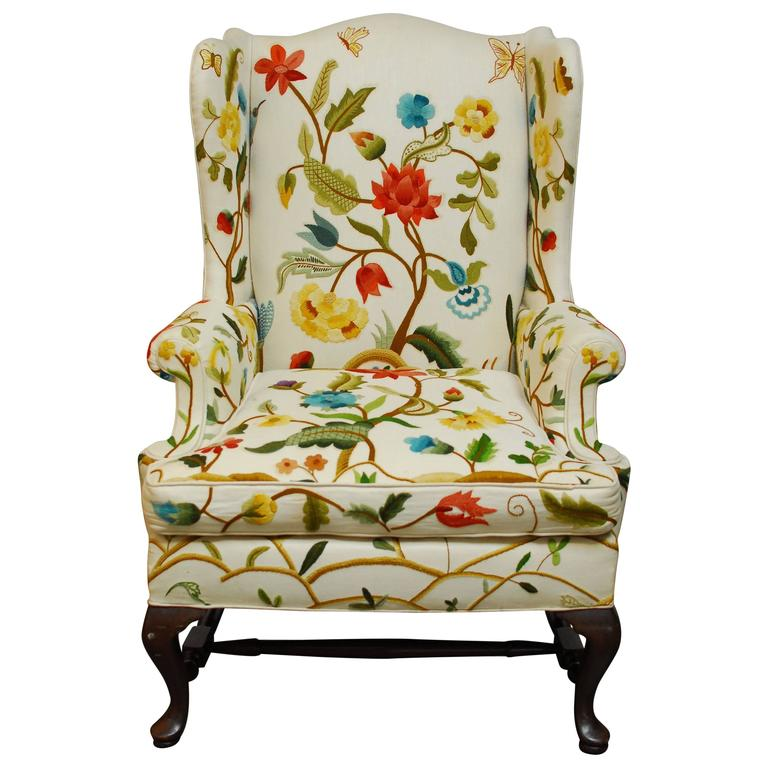 Crewel Work Wingback Chair For Sale At 1stdibs