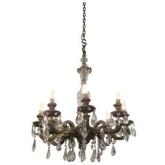 1920s Eight-Arm Ornate Crystal and Bronze Chandelier
