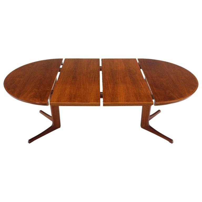 round danish mid century modern teak dining table with two