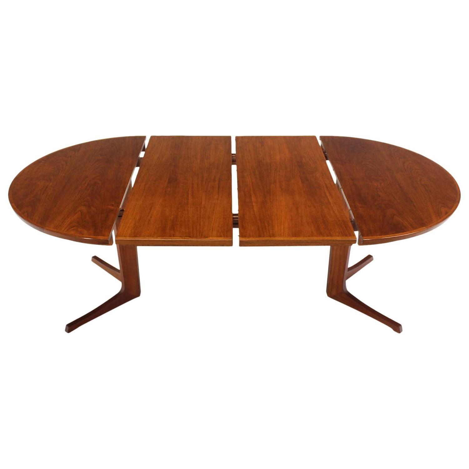 Round danish mid century modern teak dining table with two for Mid century modern dining table
