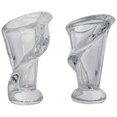 Beautiful Pair of Small French Crystal Vases
