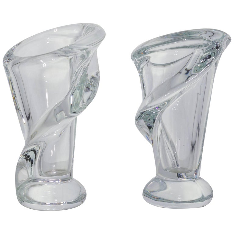 Beautiful Pair Of Small French Crystal Vases For Sale At 1stdibs