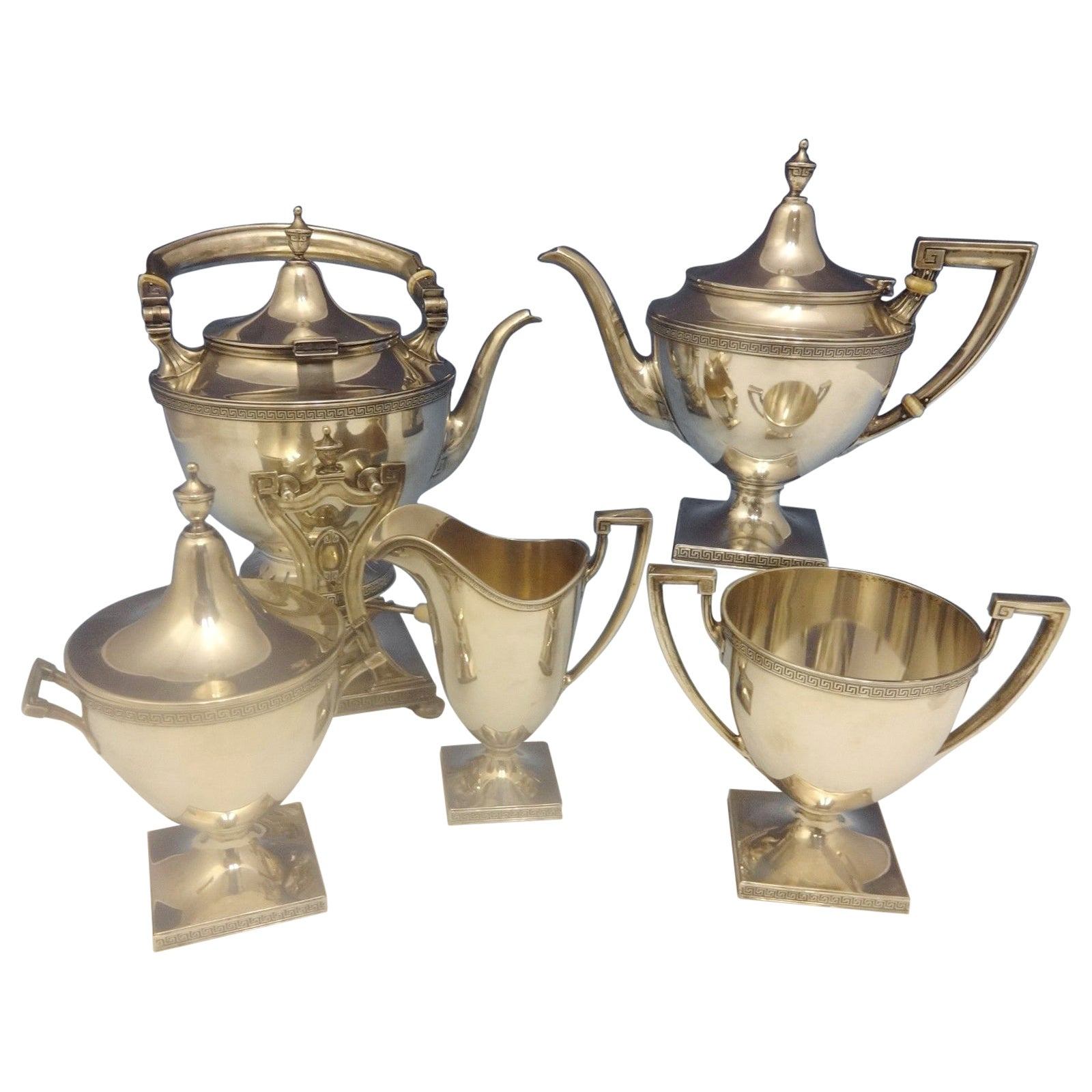 Etruscan by Gorham Sterling Silver Tea Set with Kettle Five-Pieces Hollowware
