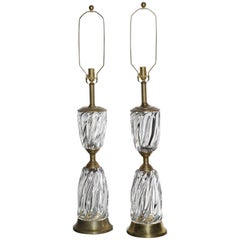 Monumental Pair of Marbro Lamp Co. Clear Murano Art Glass Rope Twist Table Lamps