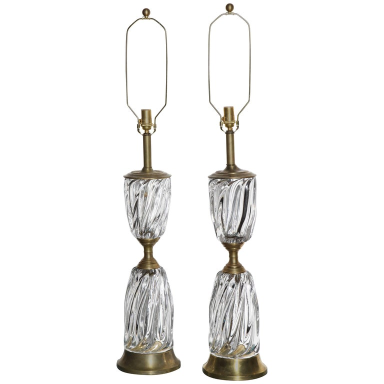 Monumental Pair of Marbro Lamp Co. Clear Murano Art Glass Rope Twist Table Lamps For Sale