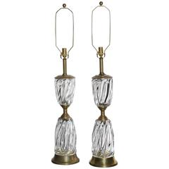 Monumental Pair of Marbro Lamp Co. Rope Twist Murano Glass and Brass Table Lamps