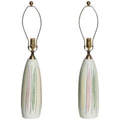 Pair of Handpainted 1950s Italian Ceramic Table Lamps