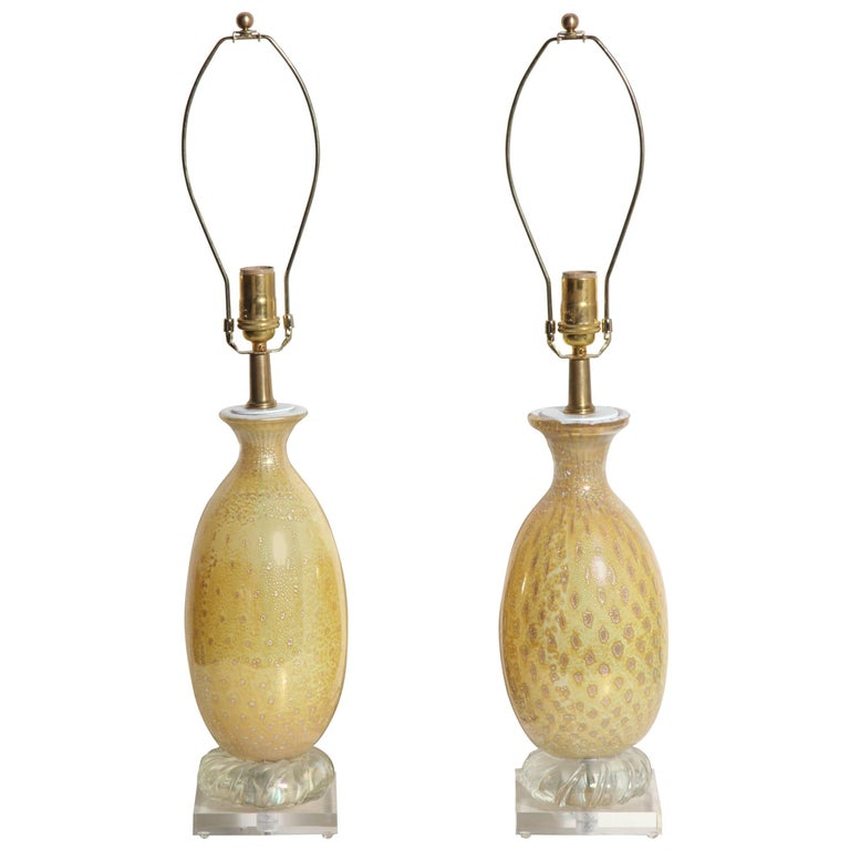 Pair of Yellow & White Murano Glass Table Lamps with Silver inclusions, 1950s  For Sale